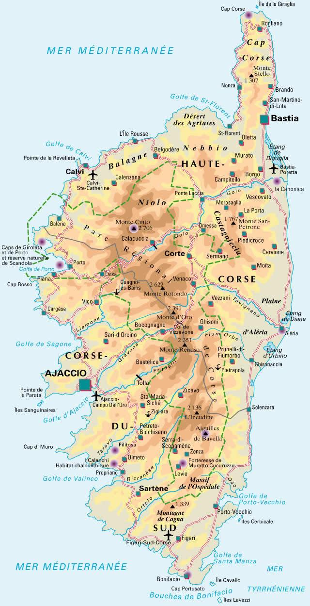 carte haute corse détaillée Carte de la Corse Detaillee, Visualisez la Carte de La Corse dans
